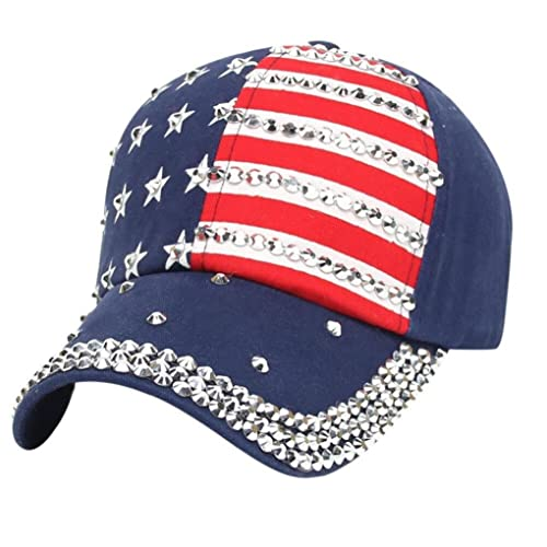 31ce39ff1c685 Women Sparkle Rhinestone USA Patriotic American Flag Baseball Cap Hat 4th  July Summer Sun Cap