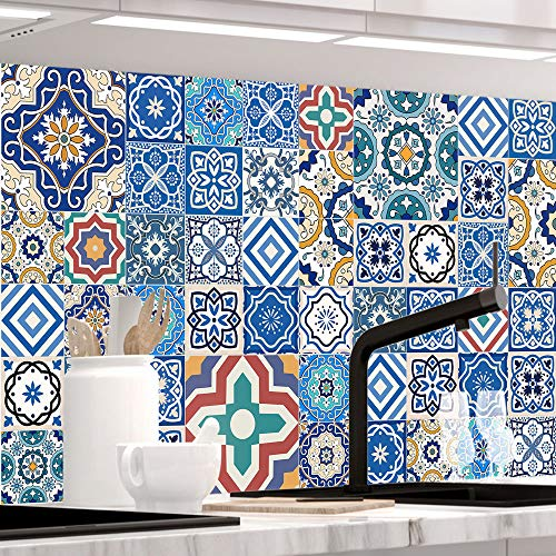 StickerProfis Küchenrückwand selbstklebend - MAROKKO Fliesen - 1.5mm, Versteift, alle Untergründe, Hart PET Material, Premium 60 x 220cm