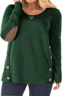 Womens Plus Size Tops Long Sleeve Elbow Patches Button Tunics Tee Shirts