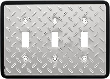 Diamond Plate Triple Switch Wall Plate/Switch Plate/Cover, Polished Chrome, Packaging may Vary