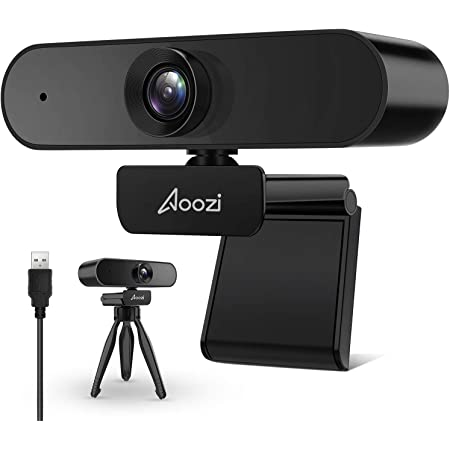 Webcam 1080p, Webcam with Microphone, 1080p Streaming Web Camera, USB Webcam Widescreen for Video Calling Recording, Computer Camera Flexible Rotatable Clip and Tripod