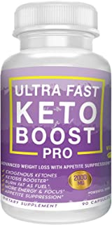 Ultra Fast Keto Boost- Pro Advanced Weight Loss- Burn Fat As Fuel- Ketosis Booster, Energy & Focus Support- 2000MG- 90 Vegan Capsules- 30 Day Supply