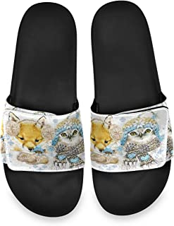 Fox and Owl Snowflake Watercolor Animals Mens Summer House Slippers Slide Open Toe Slip On Wide Sandals Boys