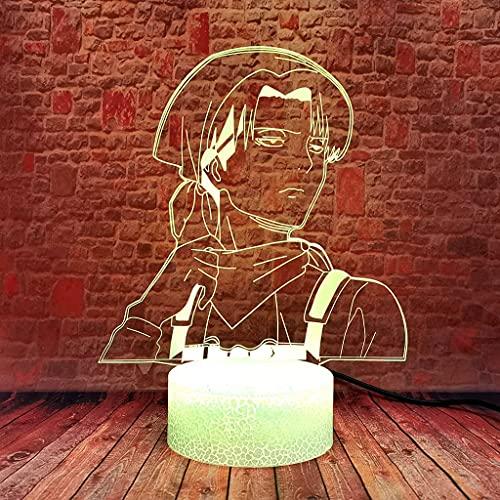 Lampada da notte illuminazione 3D Lampade for la decorazione domestica Attacco su Titan GUIDATO Lampada anime 16 colori Cambia la tavola di controllo remoto Decor Regali di Natale for uomini Boys (Tel