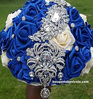 Made to order Brooch Bouquet Wedding Bridal Flowers Real Touch Roses Bride Bridesmaids BCUST- KENDRA