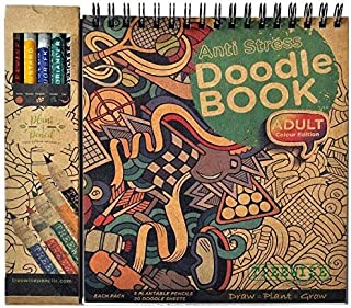 TREEWISE Anti Stress Doodle Book with Color Pencil for Adult