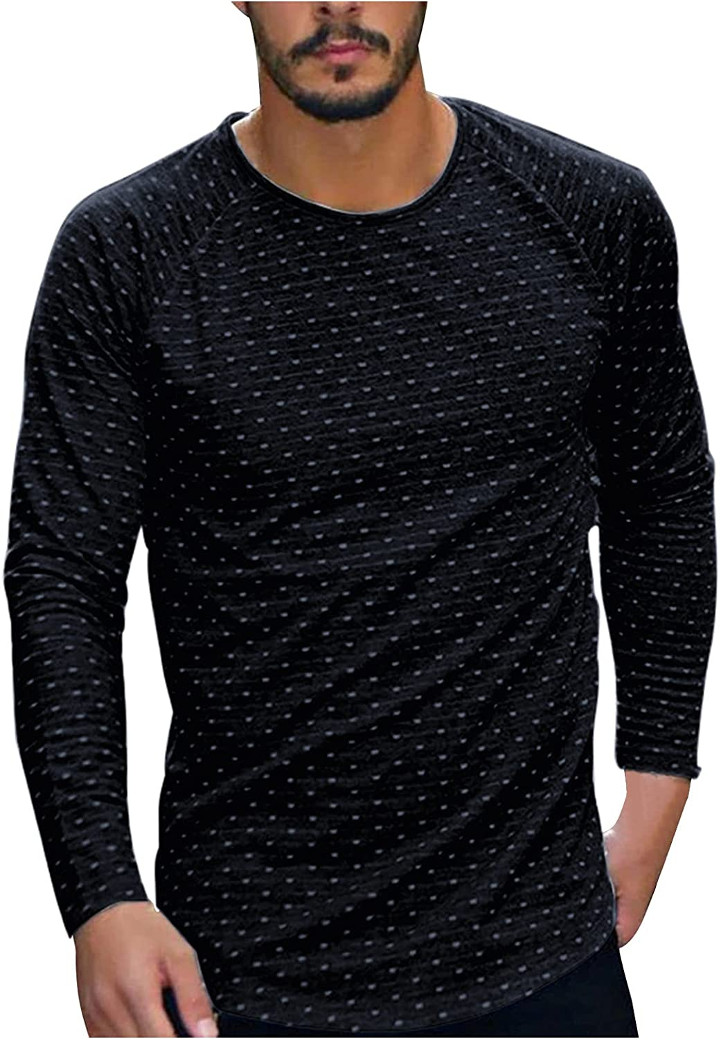Huangse Men's Casual Round Neck Wave Point Printed T-Shirt Slim Fit Long Sleeve Tee Shirts Athletic Running Top Blouse
