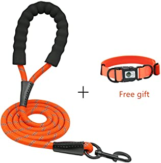 NIMBLE Dog Leash and Collar Set 5FT Strong Reflective Dog Leash and Waterproof Collar for Medium Large Dogs