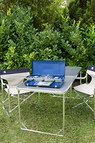 Campingaz Chef Folding Double Burner Stove and Grill, compact gas cooker for camping or festivals.