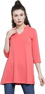 Kalt Women's Mandarin Collar 3/4th Sleeves Cotton Blend Tunic (Peach)
