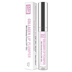 M3 Naturals Collagen Lip Plumper Clinically Proven Natural Lip Enhancer for Fuller Softer Lips Increased Elasticity Reduce Fine Lines Hydrating Plump Gloss to Maximize Fullness 4 ml