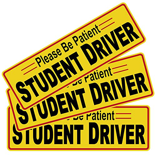 "3pcs 12""x3.8"" Student Driver Please Be Patient Sticker Decal Safety Signs for New Driver, Paint Safe Removable Back Glue Sticks Better Than Magnetic for Plastic Bumper and Window"