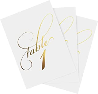 Bliss Collections Gold Wedding Table Numbers, Double Sided 4x6 Calligraphy Design, Numbers 1-40 and Head Table Card Included