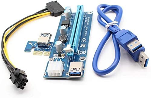 discount PCIe 6-Pin outlet online sale 16x to 1x Powered Riser Adapter Card w/ 24In USB 3.0 Extension Cable & 6-Pin PCI-E to SATA Power Cable - GPU Riser Adapter lowest for Ming online