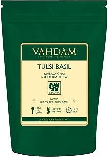 VAHDAM, Tulsi Basil Masala Chai Tea (50 Cups) | Holy Basil Tea | Tulsi Tea With 100% NATURAL SPICES | Spiced Chai Tea Loose Leaf | Brew Hot Tea, Iced Tea or Chai Latte | Loose Leaf Tea | 3.53oz