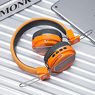 Stereo Headset All-Inclusive Wireless Bluetooth Headset Subwoofer Sports Headset Noise Reduction Gaming Headset (Color : Orange)