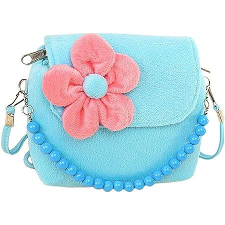 Worsendy Kinder Mädchen Mini Handtasche, Kuriertasche Mode Plüsch Bestickt Mädchen Backpack Verstellbar Schultergurt Taschen Kinder Geschenk Blau