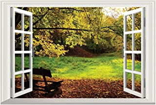 DNVEN 24 inches x 16 inches 3D Full Color High Definition Hill Bench Backyard Nature Forests Scenery False Faux Window Frame Window Mural Vinyl Bedroom Living Room Playroom Wall Decals Stickers