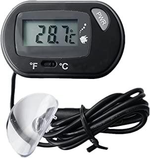 Gosear Terrario Pantalla Digital LCD Termómetro Temperatura Medidor para Acuario Pecera Tanque de Pescados Negro