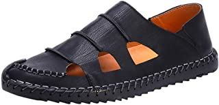 Men Sandals Sandals for Men PU Leather Soft Summer Anti-Slip Flat Loafers Stitching Slip-on Round Close Toe Comfortable