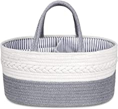 SWZJJ Baby Diaper Caddy Organizer - Stylish Rope Nursery Storage Bin Cotton Canvas Portable Diaper Storage Basket