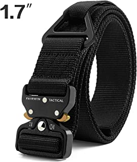 Fairwin Tactical Rigger Belt, 1.7 Inches Mens Nylon Webbing Utility Belt with V-Ring Heavy-Duty Quick-Release Buckle