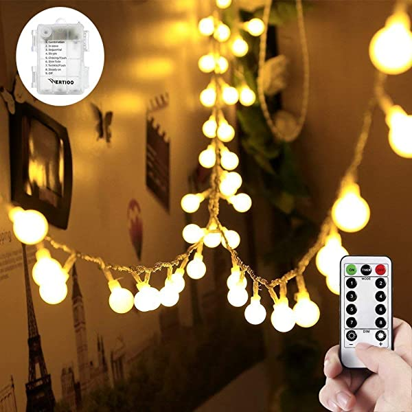 WERTIOO 33ft 100 LEDs Battery Operated String Lights Globe Fairy Lights With Remote Control For Outdoor Indoor Bedroom Garden Christmas Tree 8 Modes Timer Warm White