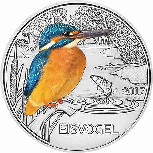 Power Coin Kingfisher Martin Pescador Colourful Creatures Glow In The Dark Moneda 3  Euro Austria 2017