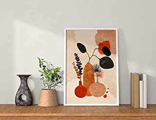 QUOTE - UNQUOTE ART Framed Wall Art - Flower Pots - Art - Minimalistic Art for Home Décor - Abstract Art - 28x36 cm - Whit...