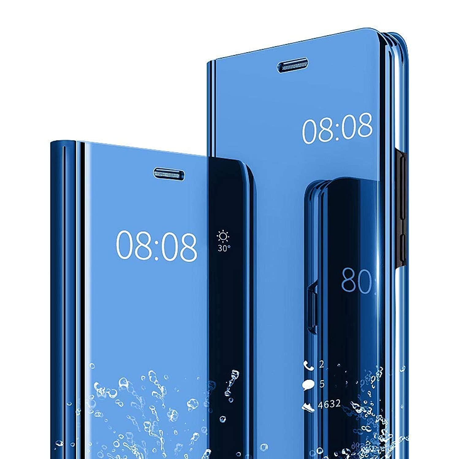 AIsoar iPhone Xs Max Case , Mirror Smart Clear View Window Flip Case Slim Multi-Function Make-Up Mirror Stand flip Folio Full Body Anti-Shock Protection Cover fit iPhone Xs Max 6.5 inch (Blue)