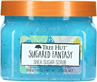 Tree Hut Sugared Fantasy Shea Sugar Scrub 18 Oz! Formulated With Real Sugar, Certified Shea Butter And Blueberry Extract! ...