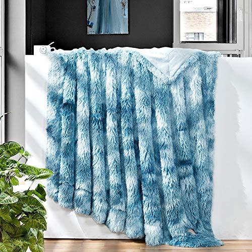 GONAAP Faux Fur Throw Blanket Decorative Super Soft Fuzzy Shaggy Luxurious Cozy Plush Fluffy Long Hair Comfy Microfiber Fleece Reversible for Coach Bed Chair Sofa (Tie-dye Ocean Blue 50'X60')