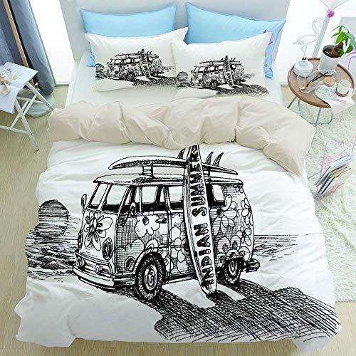 Juego de cama de 3 piezas de primera calidad, furgoneta de surf en la playa, juego de funda nórdica...