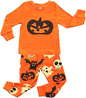 traderplus Baby Boys Girls Halloween Outfits Pumpkin Long-Sleeve Tees + Ghost Pants Pajamas Set, Size 2-7 Years