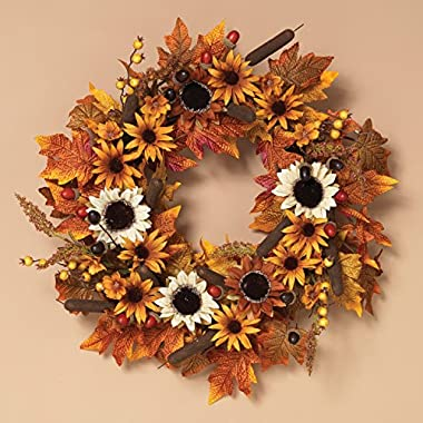 One Holiday Way 24-Inch Traditional Autumn Harvest Wreath with Flowers, Cattails and Berries - Hanging Fall Door Decoration