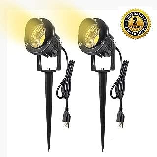 ProGreen Outdoor LED Landscape Lights, 5W LED Decorative Spotlight Lamp Ground Spike, 3000k Warm White LED Wall Lights, Waterproof IP65 LED Garden Lighting (2 Pack, 5W 3000K)