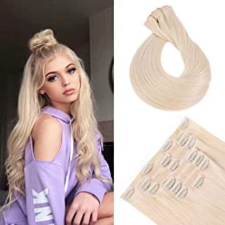 Maxfull Seamless Clip In Remy Hair Extensions Platinum Blonde for Fine Thin Hair, Hair Extensions Clip On Human Hair, 7pcs...