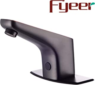 Fyeer Automatic Sensor Touchless Bathroom Faucet with Hole Cover Deck Plate, Motion Activated Hands Free Kitchen Vessel Sink Tap, Lead Free, Hot and Cold Mixer, Oil Rubbed Bronze Finish
