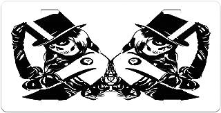 Lunarable Goth License Plate, Symmetrical Design of Sugar Skull Girls with Billiard Ball Lucky Tattoo with Hat, High Gloss Aluminum Novelty Plate, 5.88