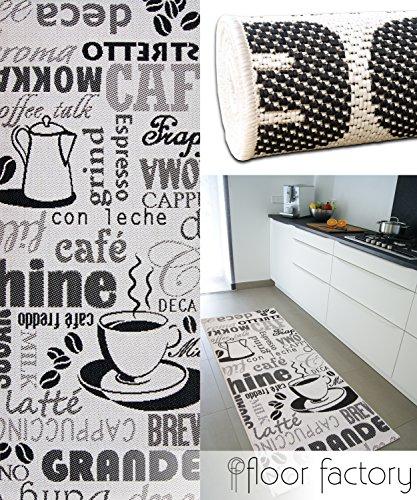 Küchenteppich Cappuccino schwarz/weiß 80x200 cm - günstiger Küchenläufer