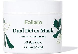 Follain Dual Detox Mask: Purify + Resurface – Kaolin & Bentonite Clays, AHAs (Lactic & Glycolic Acids), BHA (Salicylic Acid), PHA (Gluconolactone) – All Skin Types – Clean Beauty, Vegan – 2.1 fl oz