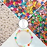 Smiley Face Beads, 1200 Pcs Smiley Beads for Jewelry Making, Included Happy Face Beads, Pearl Beads, Crystal Beads and Elastic String