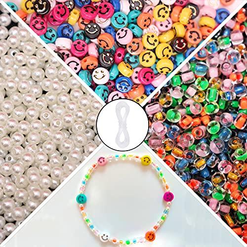 Cuentas de cara sonriente, 1200 cuentas sonrientes para hacer joyas, incluye cuentas de cara feliz, cuentas de perlas, cuentas de cristal y cuerda elástica