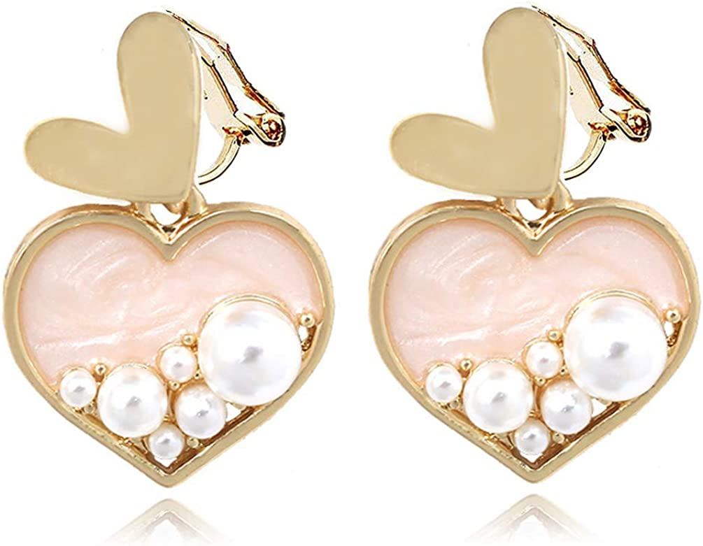 Clip on Earrings Pink Heart Faux Pearl Tassel Dangle for Women Girl no Piecred Gold Plated Soft Pads