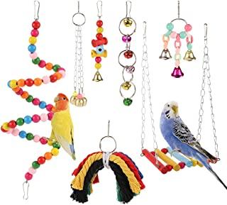 XQL 7 Pcs Bird Swing Chewing Toys Parrot Bed Ladder Perch Finches Rattan Toys Pendant for Conures, Finches, Budgie, Macaws, Parrots, Birds