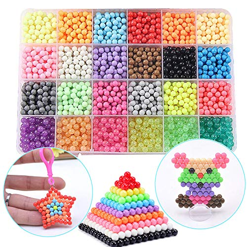 Funcool Beads Toy Fusible Beads Refill, 24 Colors Water Spray Beads Set Compatible with Beados Art Crafts Toys for Kids Over 3000 Classic and Jewel Beads