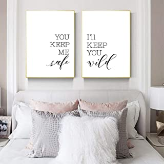 xwwnzdq 2 Pieces You Keep Me Safe I'll Keep You Wild Words Print Minimalist Rustic Wall Art Love Couple Bedroom Decor Wall Poster Canvas Painting