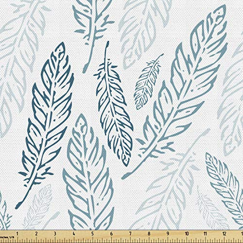 Ambesonne Teal and White Fabric by The Yard, Pastel Colored Grunge Looking Feathers Flying Bohemian Ethnic, Decorative Fabric for Upholstery and Home Accents, 5 Yards, Teal Dark Blue White