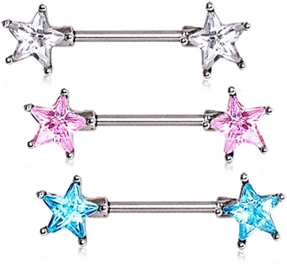 316L Surgical Steel Prong Set Star CZ Nipple Bar Pink 1.6mm X 14mm