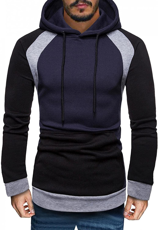 Men's Fashion Hoodies & Sweatshirts Color Block Long Sleeve Crewneck Hooded Pullover Slim Fit Comfortable Tops